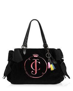 #Juicy Couture Neon Ms Daydreamer Bag Black Hot Hot Velour #Women Handbags