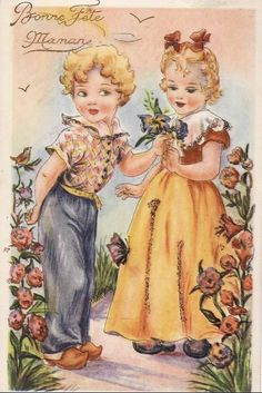 carte vintage Bonne fête maman  { Mary Posy aime ! }