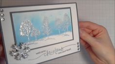 """Quick, clean, simple and easy Christmas Card with embossed winter landscape... Music: """"Improvisation On Friday..."""" by Alex (feat. The3amAssociation) http://c..."""