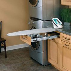 Fold away ironing board by Rev-A-Shelf. These ironing board feature fold away design for easy storage. This fold out ironing board ships via UPS. Laundry Room Remodel, Laundry Room Storage, Laundry Room Design, Laundry Rooms, Laundry Area, Laundry Bathroom Combo, Laundry Room Layouts, Laundry Room Cabinets, Bathroom Inspo