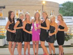 LBD Bach Party. Love the idea of the bride in a different color! And, not as cheesy as t-shirts.