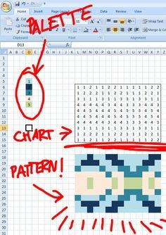 Altering Fair Isle Charts in Excel - Seriously Fab Geekiness for Knitting! - this is how I chart all of my designs Knitting Charts, Knitting Stitches, Knitting Designs, Knitting Projects, Knitting Patterns, Knitting Help, Sock Knitting, Knitting Tutorials, Vintage Knitting