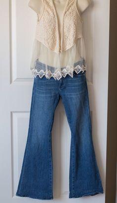 Boho Outfit Women's Clothes Hippie Style Summer Jeans 27 Vest Medium Floral  | eBay