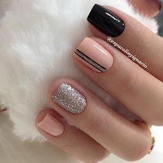 Classy Nail Designs, Short Nail Designs, Nail Art Designs, Peach Nails, Pink Nails, Classy Nails, Cute Nails, Square Nail Designs, Girls Nails