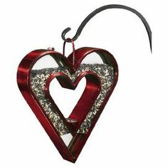 """Bring the lovely sound of chirping to your backyard or garden with this steel bird feeder, showcasing an open heart shape and a ruby red finish.    Product: Bird feederConstruction Material: Steel and glassColor: Ruby red and copperFeatures: Open center 4.5 lb Seed capacityDimensions: 15"""" H x 13"""" W x 3"""" DNote: Hook not included"""