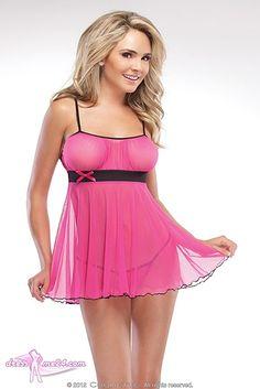 Besuche uns gern auch auf dressme24.com ;-) Sexy Babydoll Pink Dreams - Pinkfarbenes Stretch Mesh Babydoll mit rückseitigen Kreuzträgern. Inklusive G-Stringtanga. Lieferung in schmucker Geschenkbox. #Dessous,  #Reizwaesche, #Babydolls