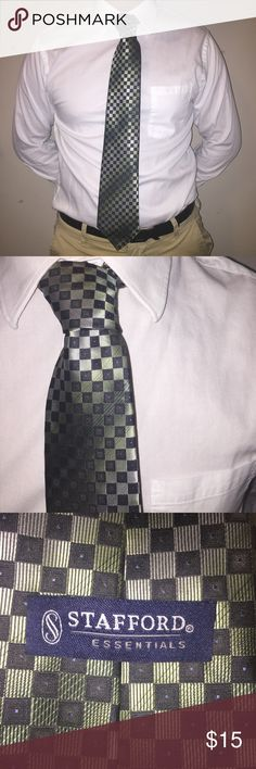 Stafford Neck Tie This black green and grey Stafford tie looks great with a black suit or just a button down shirt! Stafford Accessories Ties