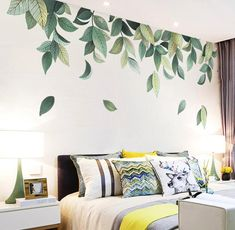 Items similar to Fresh Green Medium Leaf Bedroom Wall Designs, Diy Bedroom Decor, Diy Home Decor, Bedroom Designs, Wall Painting Decor, Mural Wall Art, Vinyl Wall Stickers, Decals For Walls, Bedroom Wall Stickers