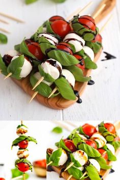 Caprese Skewers With Balsamic Glaze Recipe – light and fresh Caprese salad on a stick. Party style appetizer made with just four main ingredients and wooden skewers. food videos recipes appetizers CAPRESE SKEWERS WITH BALSAMIC GLAZE Snacks Für Party, Appetizers For Party, Appetizer Recipes, Dinner Recipes, Easter Appetizers, Canapes Recipes, Easter Recipes, Appetizers On Skewers, Lunch Party Ideas