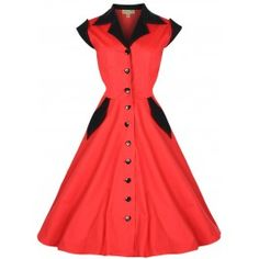 LINDY BOP 'JEANETTE' VINTAGE 1950'S ROCKER PINUP COTTON SHIRT DRESS - Available In Red, Black & Red Leopard