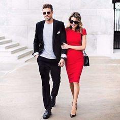 Элегантный образ для пары. Черный, белый и красный - идеальное сочетание!