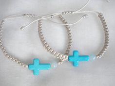 Turquoise cross bracelet Boy baptism favors Martyrika by Poppyg