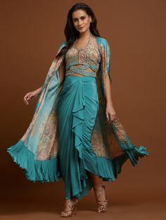 Indian Fashion Designers, Indian Designer Wear, Drape Sarees, Aqua Fabric, Draped Skirt, Anarkali, Her Style, Fashion Forward, Skirt Set