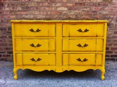 Vintage French Provincial Dresser In Sunflower Yellow, via Etsy.