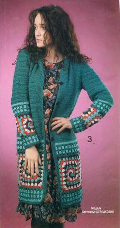 For women — Страница 9 — Crochet by Yana Crochet Tunic Pattern, Crochet Coat, Granny Square Crochet Pattern, Crochet Jacket, Crochet Cardigan, Crochet Granny, Crochet Clothes, Crochet Stitches, Hippie Crochet