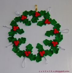 Ravelry: Christmas Decoration part II pattern by c v e t u l k a knits Knitted Christmas Decorations, Xmas Wreaths, Christmas Ornaments To Make, Christmas Bells, Knitted Flower Pattern, Knitted Flowers, Crochet Pattern, Christmas Jingles, Christmas Toys