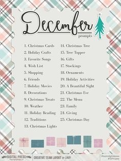 December Daily page idea list December Daily, Hello December, Christmas Journal, Christmas Albums, Christmas Crafts, Christmas Scrapbook, Daily Journal, Journal Prompts, Journals