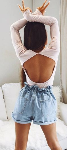 #spring #outfits  White Open Back Top + Bleached Denim Short🔥