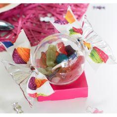 Boîte à dragées Bonbon plexi transparent 14.8 cm les 20 Boîte forme Bonbon transparent, baptême, baby shower, mariage, anniversaire