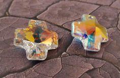 Swarovski crystal AB cross pendant 20mm one 1 by StoneWingSupplies, $2.25  #Swarovski #crystalpendant #jewelrysupplies