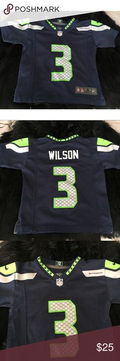 Nike Russell Wilson Seattle Seahawks Jersey Like new Preschool size Russell Wilson Seahawks game jersey in college navy blue, perfect for your favorite little 12th kid! 💙💚💙💚💙 Nike Shirts & Tops