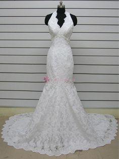 White Mermaid / Trumpet Halter Low Back Court Train Lace Wedding Dress - Mermaid Wedding Dresses - Wedding Dresses