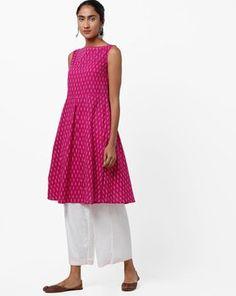 Check out Printed Boat Neck Flared Kurta on AJIO! Boat Neck, India, Summer Dresses, Printed, Pink, Check, Fashion, Moda, Goa India