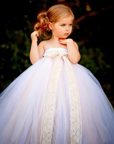 Flower Girl Tutu Dress in Vintage Daydream with Lace Accent. $97,00, via Etsy.