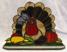 Standing Stained Glass Turkey by CrystalwoodCreations on Etsy, $45.00