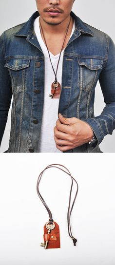 Accessories :: Necklaces :: Antique Key Leather Holder-Necklace 108 - Mens Fashion Clothing For An Attractive Guy Look