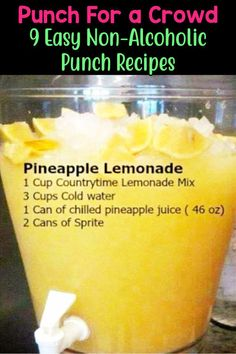 7 Easy Punch Recipes For a Crowd - Simple Party Drinks Ideas (both NonAlcoholic and With Alcohol Party Drinks! Pineapple Sprite Lemonade Punch Recipe - Easy Punch Recipes for a Crowd and Easy Party Drinks Ideas - Cranberry Vodka Punch, Pinea Punch Recipe For A Crowd, Easy Punch Recipes, Food For A Crowd, Wedding Punch Recipes, Recipe For Lemonade Punch, Fruit Punch Recipes, Easy Party Recipes, Easy Party Snacks, Juice Recipes