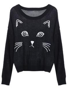 Sweat noir imprimé chats à col rond EUR€16.18