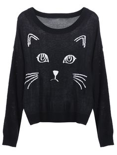 Black Embroidered Cat Round Neck Loose Sweater