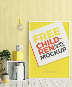 Free Children Room Photo Frame PSD Mockup (7.94 MB) | #free #photoshop #mockup #psd #childer #room #photo #frame