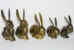 5 vintage solid brass rabbit hare figurine ornaments long ears