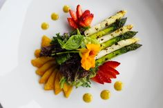 Grilled Asparagus, Braised Peaches and Strawberries with Mixed Field Greens & Citrus Vinaigrette (A selection from the Chef's Signature Menu) #TheManorRestaurant #NJ #Restaurant (www.themanorrestaurant.com)
