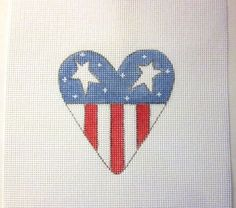 Red White & Blue Heart Shaped American Flag Handpainted Needlepoint Canvas #Unbranded