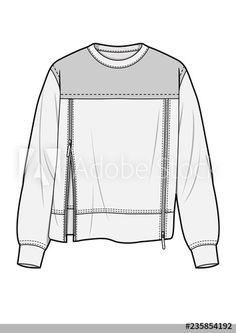 WOVEN TOP fashion flat technical drawing template