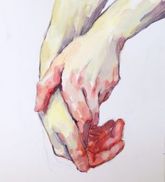 Hand study in acrylic, from life