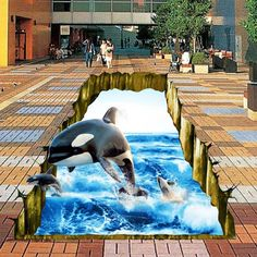 269.10$  Watch now - http://alicim.shopchina.info/go.php?t=32788013054 - Free Shipping hotel bathroom bedroom square marine dolphins waterproof floor wallpaper mural  #buyonline