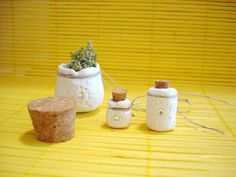 OOAK - Set of 3 Primitive Mini Pots with Corks, White Ceramic - Swarovski Crystals - Mystic Miniature Pots for herbs, essential oils... - pinned by pin4etsy.com