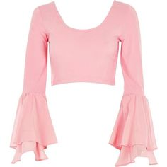 River Island Pink double bell sleeve crop top ($56) ❤ liked on Polyvore featuring tops, crop tops / bralets, pink, women, cut-out crop tops, river island top, river island, v-neck tops and v neck tops
