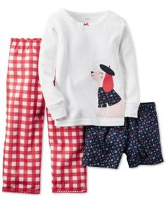 An adorable pink French poodle applique sits on this crisp white top that pairs perfectly with gingham pants and floral-print shorts for mix and match fun. From Carter's.   Cotton/polyester   Machine
