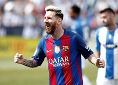 Barcelona's Lionel Messi celebrates after scoring a goal during the Spanish La…