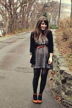 Black dress black tights shoes