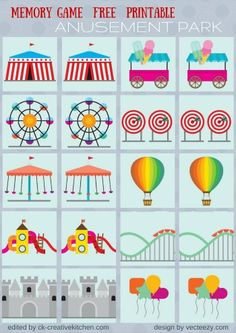 Circus and park - Memory game free printables - Creative Kitchen Preschool Lesson Plans, Free Preschool, Preschool Printables, Preschool Crafts, Preschool Activities, Free Printables, Preschool Circus Theme, Printable Math Games, Carnival Activities