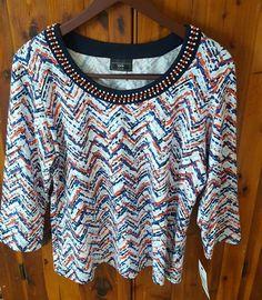 NWT Lark Lane large LG shirt beaded collar red/white/blue chevron | Clothing, Shoes & Accessories, Women's Clothing, Tops & Blouses | eBay!