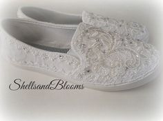 Wedding Bridal Flat Shoes - chic white lace or Ivory cream - Rhinestone Pearls - eyelet trim - Shabby vintage inspired - sneakers tennis by ShellsandBlooms on Etsy