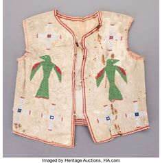 American Indian Art:Beadwork and Quillwork, A SIOUX BOY'S PICTORIAL BEADED HIDE VEST. c. 1890...