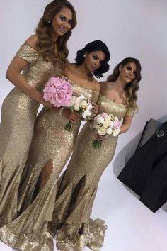Bridesmaid Dresses, Gold Bridesmaid Dresses,Sexy Bridesmaid Dresses, 2017 Gold Sequins Bridesmaid Dresses,Mermaid Bridesmaid Dress,Gold Wedding Party Dresses, Plus Size Bridesmaid Dresses,Bridesmaid Dress